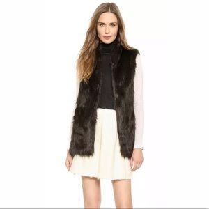 Club Monaco XS Shane Faux Fur Vest Black Brown NEW